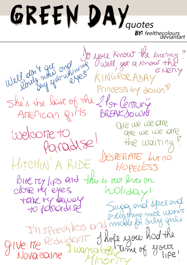 Green Day Quotes Quotesgram