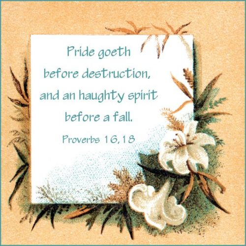 destruction through excessive pride If we allow our pride to get the better of us, our downfall is not far off quick note:   you may trust too much in your ability or underestimate the situation  pride  does go before destruction and a haughty spirit before the fall.
