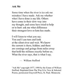 """an analysis on william staffords poems View poem analysis - traveling through the dark by william stafford from english ap lit at benjamin banneker shs word """"waiting"""" in line 10 makes the fawn seem more alive than it actually is and."""