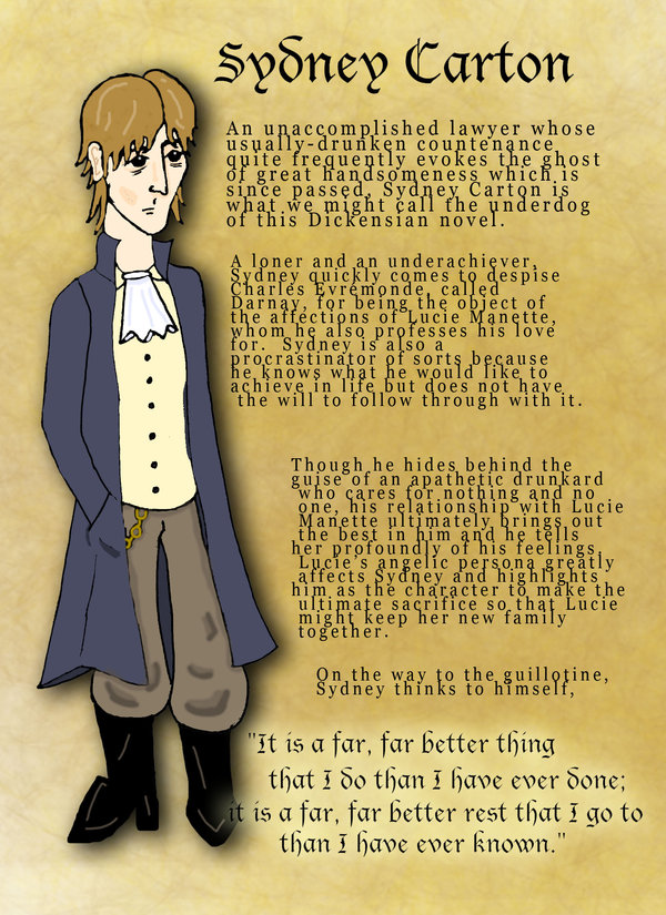what is your first impression of sydney carton Book the first, chapter 5 questions what is the impression of madame defarge from this chapter 7 sydney carton's great love for lucie makes him sacrifice.