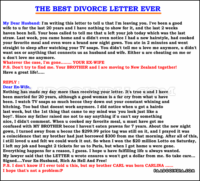 best divorce letter ever quotes about ex humor quotesgram 36425