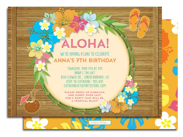 This is a picture of Hawaiian Theme Party Invitations Printable pertaining to summer luau party