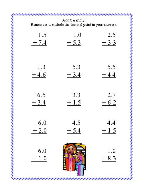 Number Names Worksheets adding decimal worksheet Free – Add Decimals Worksheet