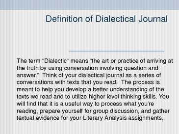 unbroken dialectical journals essay