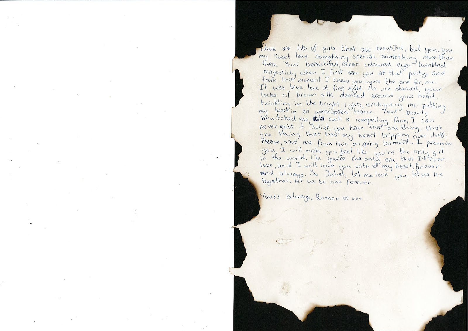 Romeo and Juliet Letter