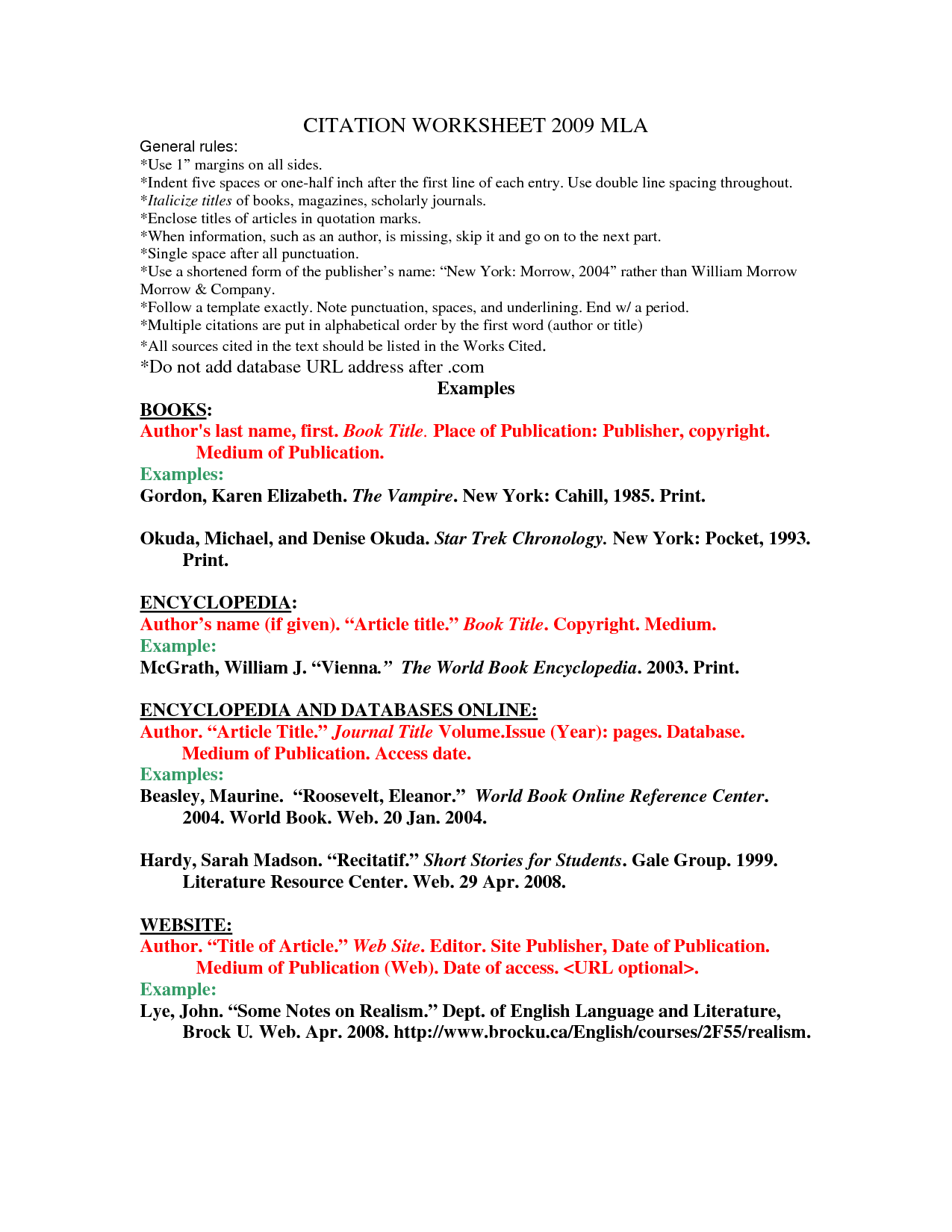 Mla Citation Practice Worksheet Worksheets For School - Getadating
