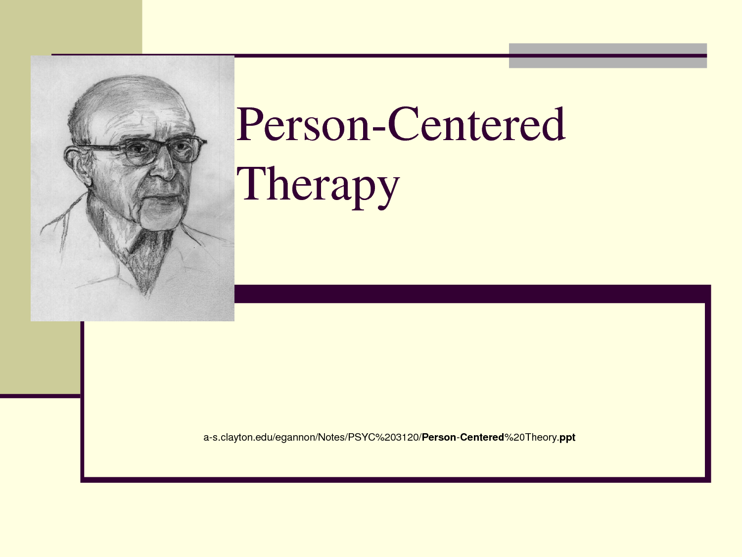 """limitations in person centered therapy What is person-centered therapy person-centered therapy, originally developed by psychologist, carl rogers in the 1940s, is a form of psychotherapy in which the therapist takes an indirect role in other words, your therapist takes a """"back seat"""" approach to psychotherapy this type of therapy is also referred to as client-centered therapy or rogerian therapy."""