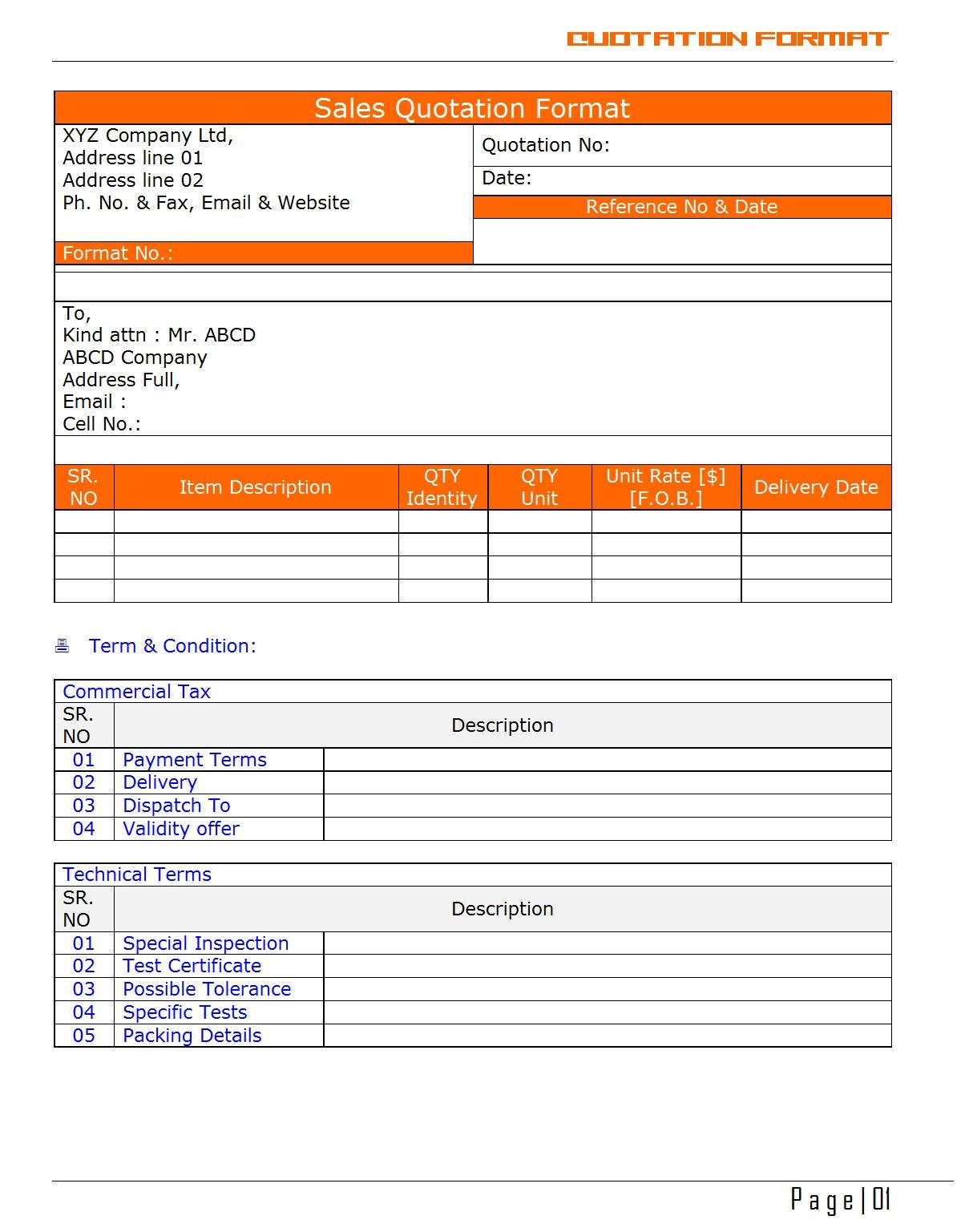 quotation form template – Official Quotation Format