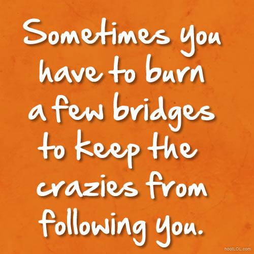 Humor Inspirational Quotes: Funny Quotes About Burning Bridges. QuotesGram