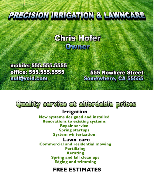 Lawn Maintenance Business Card Templates : Lawn.xcyyxh.com