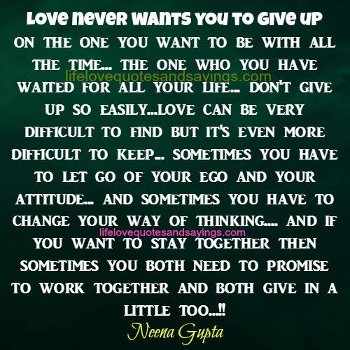 Never Give Up Love Quotes Sayings