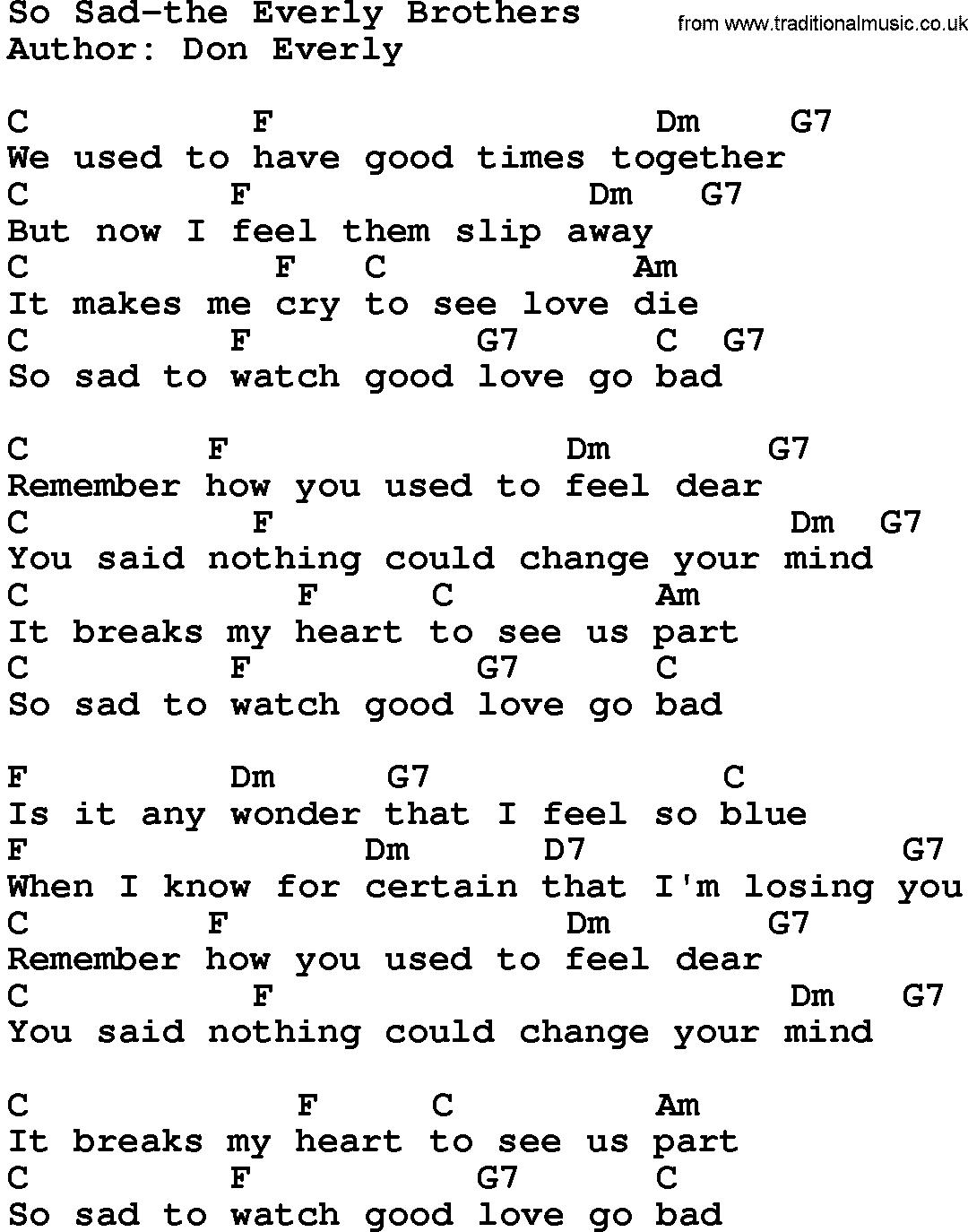 Sad song guitar chords