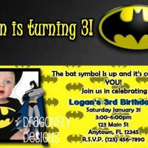 1st birthday batman invitation card