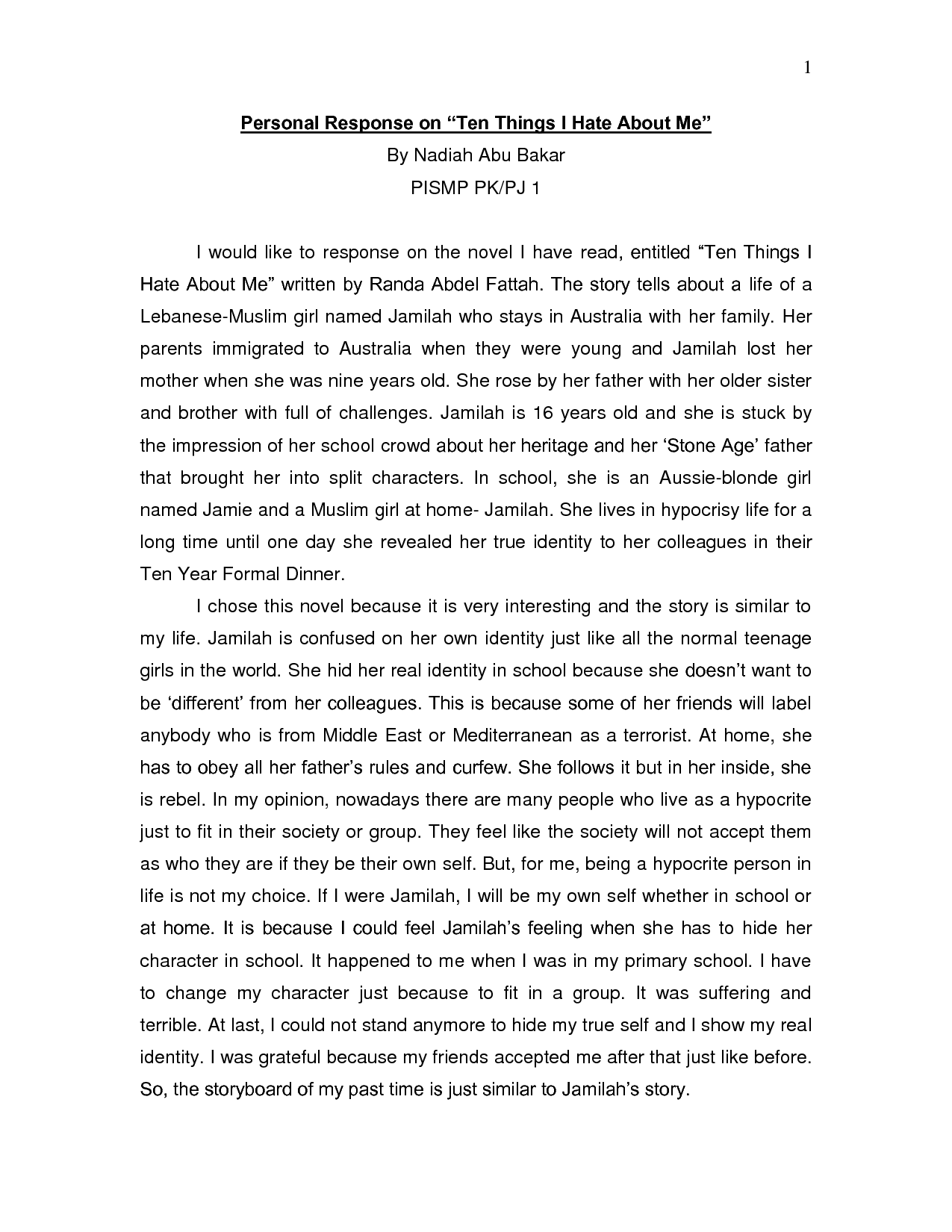 example of reflective essay on self the reflective essay final