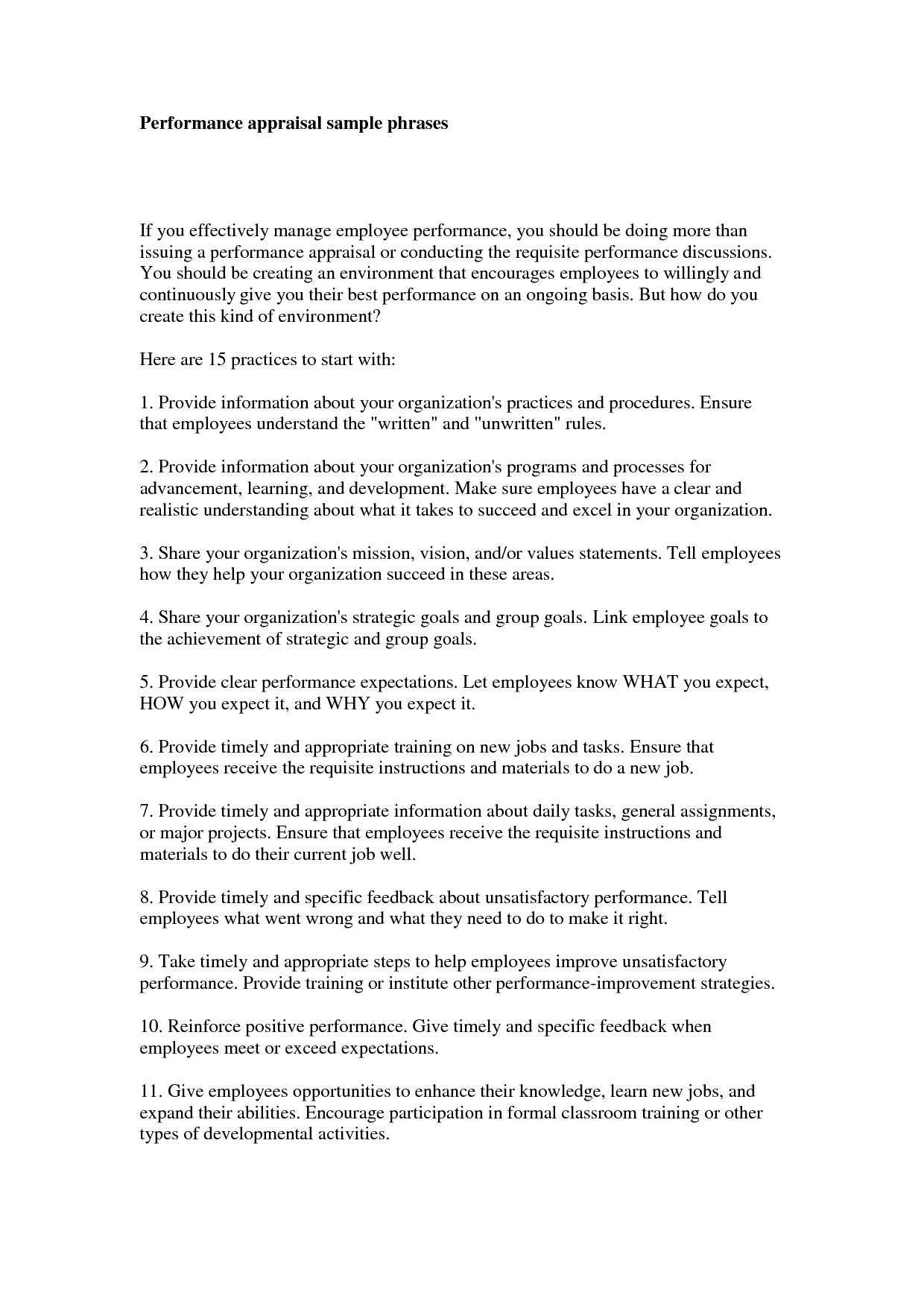 Sample receptionist performance appraisal.