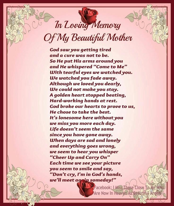 Missing My Deceased Mom Quotes Quotesgram