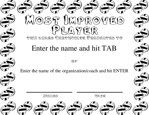 most improved player certificate 1 best 10 templates