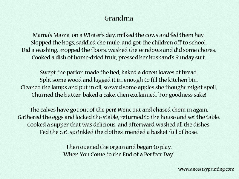 Assure you. Poem for granny consider