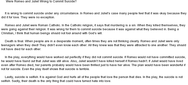 suicidal impulse by romeo and juliet Find an answer to your question how does the suicidal impulse that both romeo and juliet exhibit relate to the overall theme of young love.