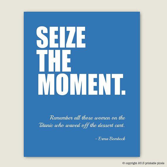 seizing the moment Seize the moment is an invitation to live in the now the moment potentially represents a positive peak experience either for yourself or for the person you decide to share it with.