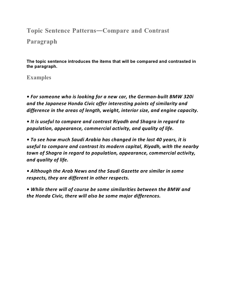 introductory paragraph in a compare and contrast essay