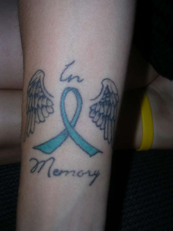 Cancer Ribbon With Wings Tattoo Designs