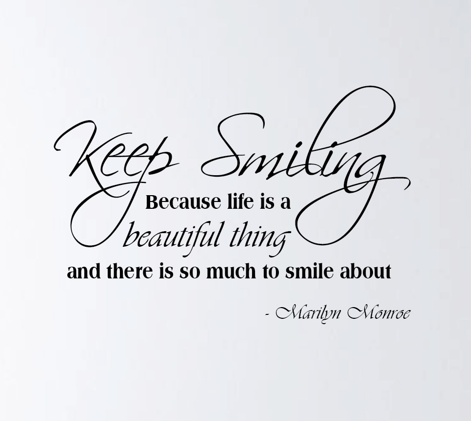 marilyn monroe quotes smile life is beautiful quotesgram