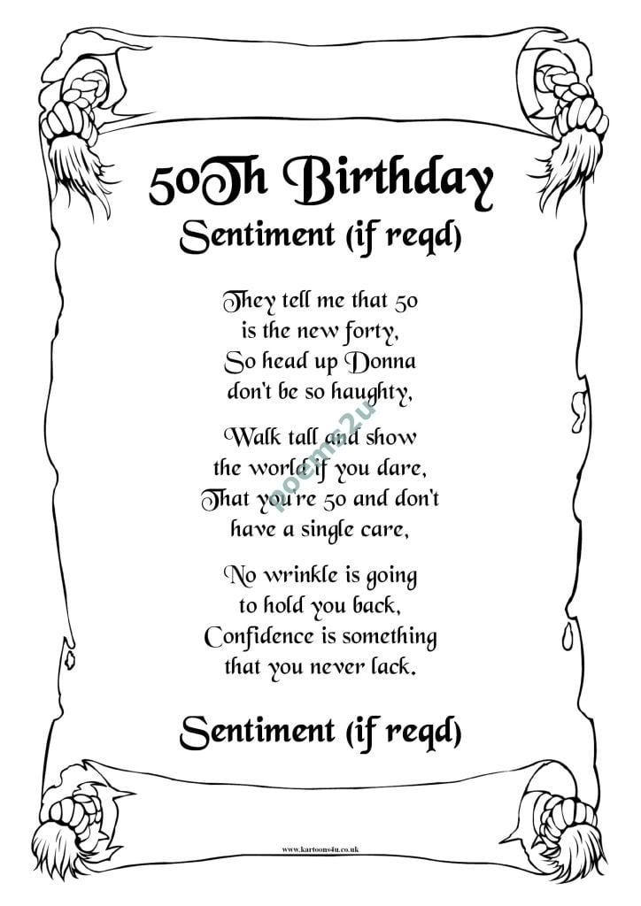 Doc 50th Birthday Verses for Cards Birthday Verse BDYV003 – Verses for 50th Birthday Cards