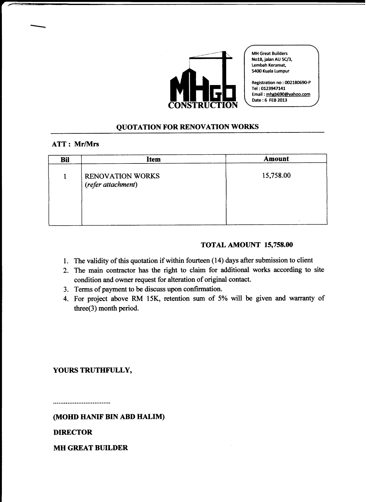Construction Quotation Cover Letter Sample Cover Letter Examples – Quotation Letter