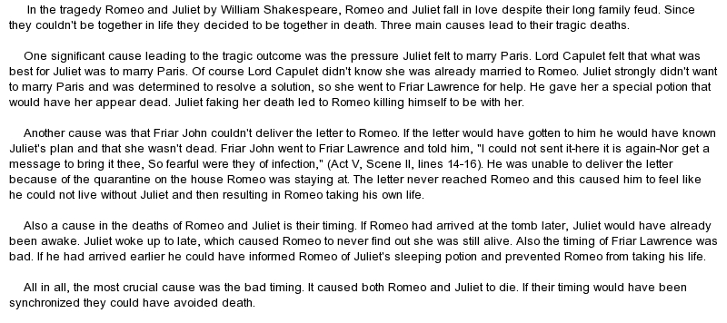 essay on tragedy in romeo and juliet What caused the tragedy in romeo and juliet essaysthe drama romeo and juliet, written by william shakespeare is known throughout the whole world, but no one in the.
