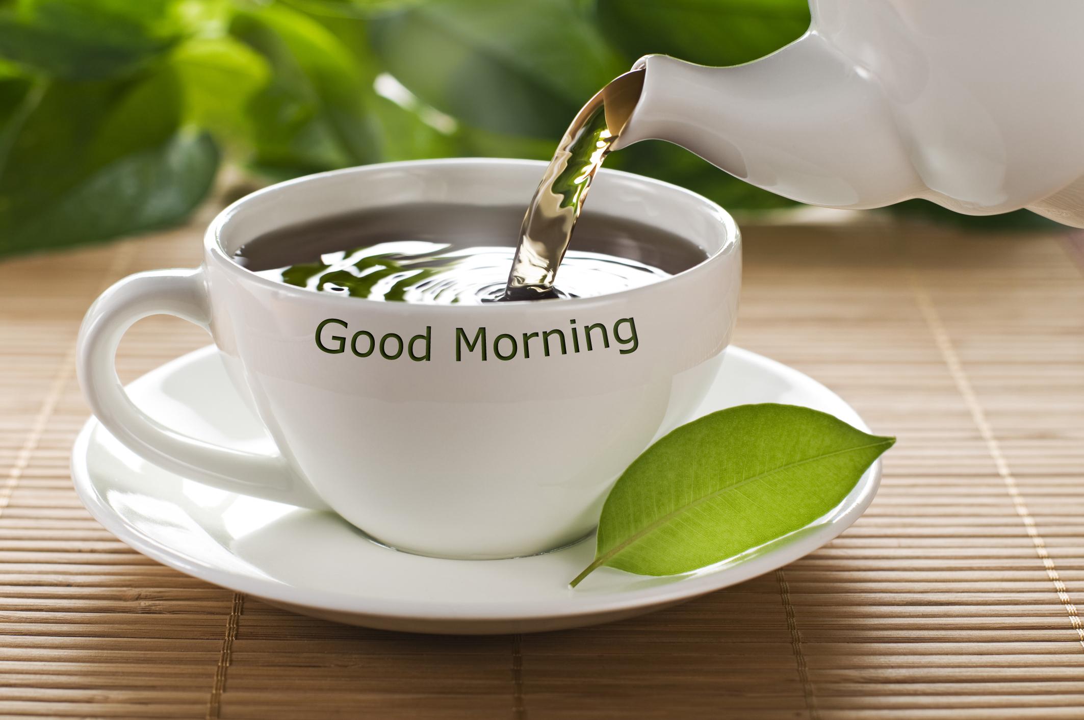 Открытки, открытка с зеленым чаем доброе утро