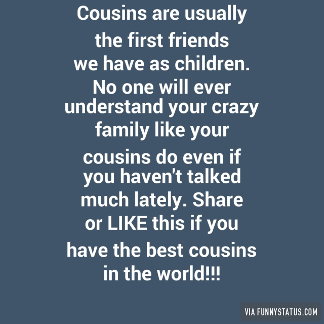 Crazy Cousin Birthday Quotes: First Friend Cousin Quotes. QuotesGram