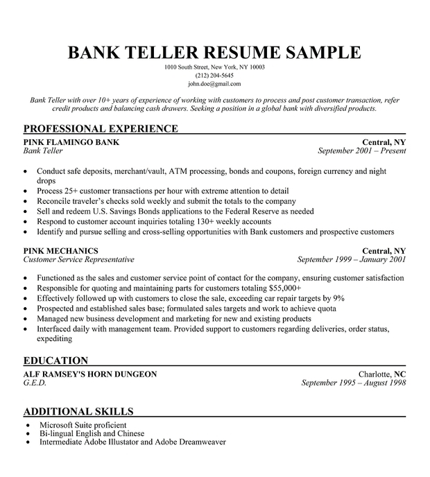 Resume Sample Resume For Bank Cashier us bank teller cover letter in