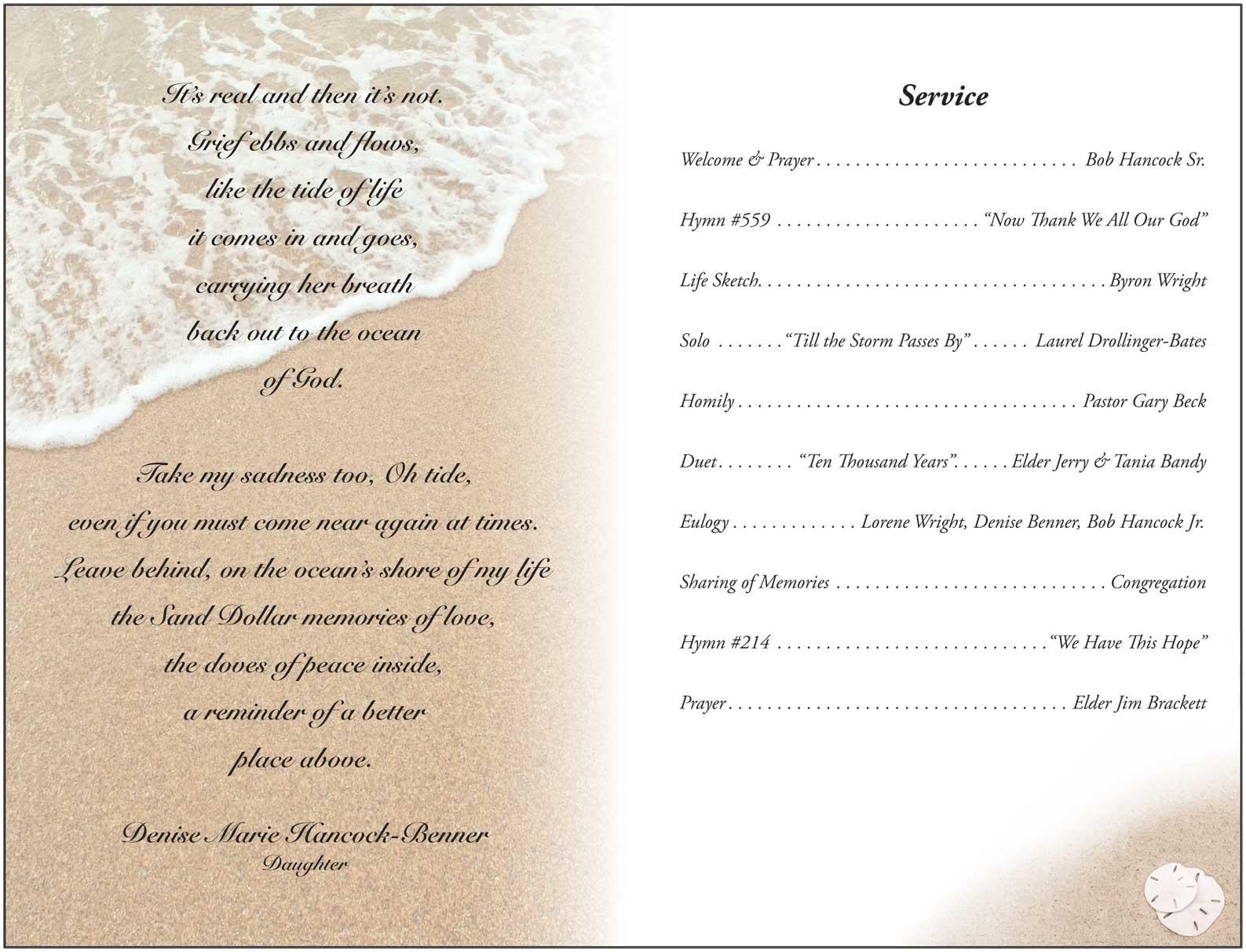 Doc650502 Burial Ceremony Program Memorial Service Program – Burial Ceremony Program