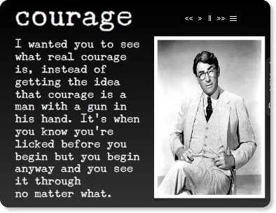 bravery and courage in the story of to kill a mockingbird How real courage is shown in 'to kill a mockingbird'  the major theme which  runs through out this novel is courage  admiration also shines out of jem when  he realises her bravery and the true courage she really shows.