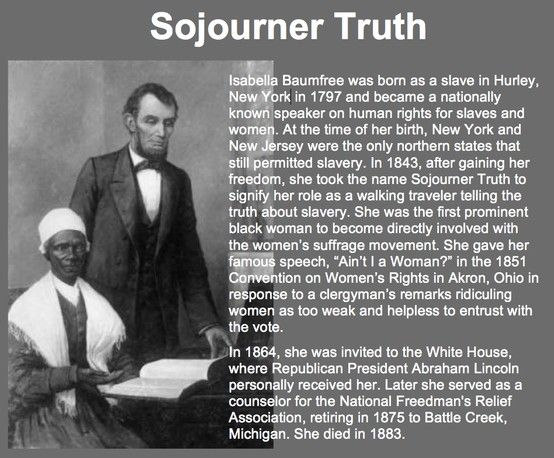 the history of sojourner truth A former slave, sojourner truth became an outspoken advocate for abolition,  temperance, and civil and women's rights in the nineteenth century her civil war .
