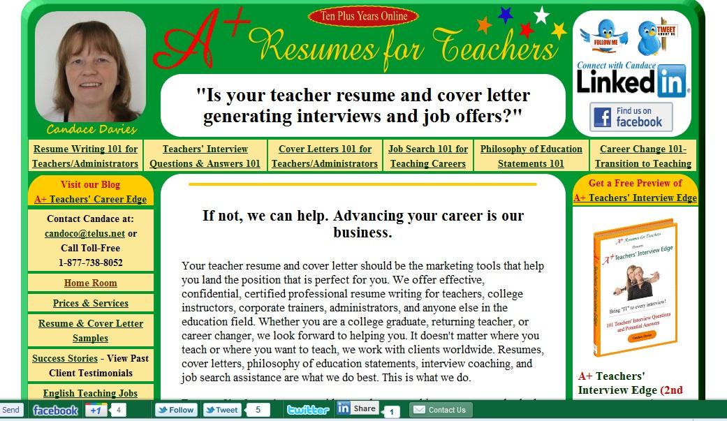 resume writing service for teachers