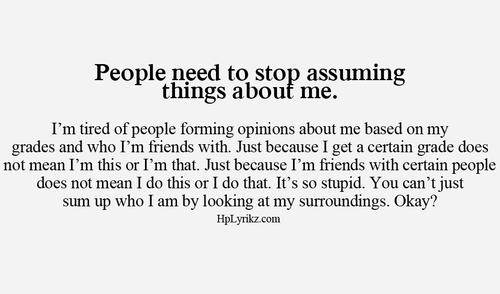 Stop Assuming Quotes. QuotesGram