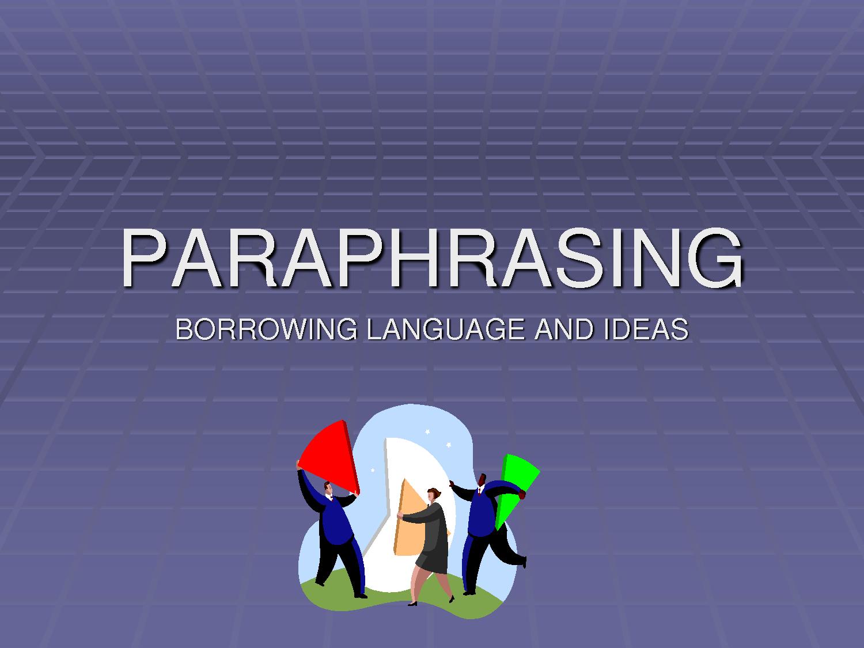 Help paraphrasing