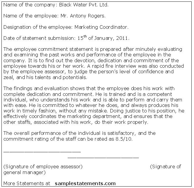 1157888193-Employee-Commitment-Statement Team Commitment Letter Template on statement employer, stay treatment, for atlas job, purchase agreement, pledge card, printable fixed, letter match, ceremony certificate, for time out,