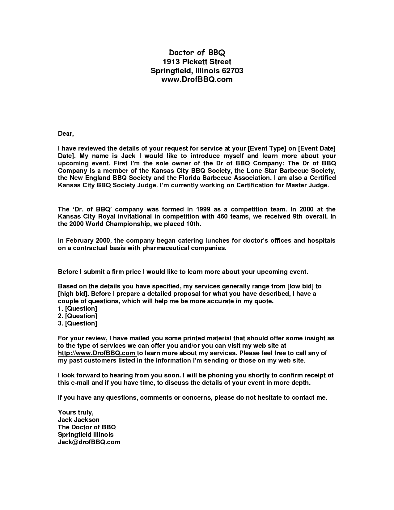 Cover Letter For Business Quote - Cover Letter Example