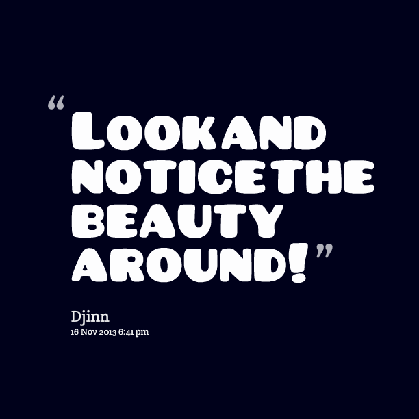 Quotes About People Who Notice: Notice The Beauty Quotes. QuotesGram