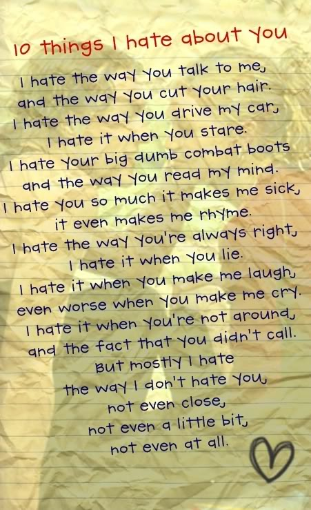 14 Reasons (Not) To Hate You |I Hate You Poems And Quotes