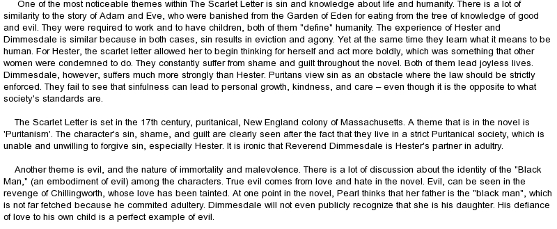 evilsin portrayed in dimmesdale and chillingworth essay