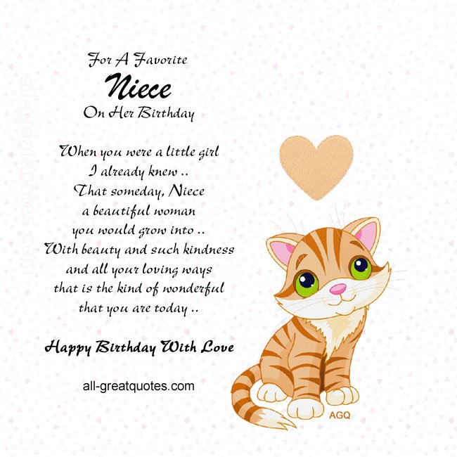 Birthday Card For Niece Quotes. QuotesGram