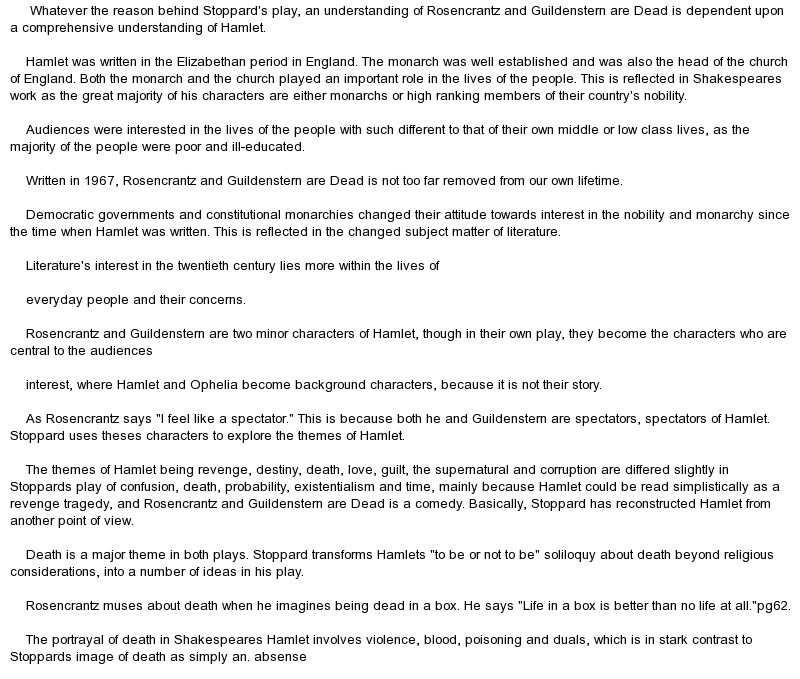 rosencrantz and guildenstern are dead essay conclusion Rosencrantz and guildenstern are dead theme essay hook: cv the media reflects society of actuaries essay on makar sankranti in gujarati horoscopes brainstorming techniques for an essay conclusion of related post of rosencrantz and guildenstern are dead theme essay hook.