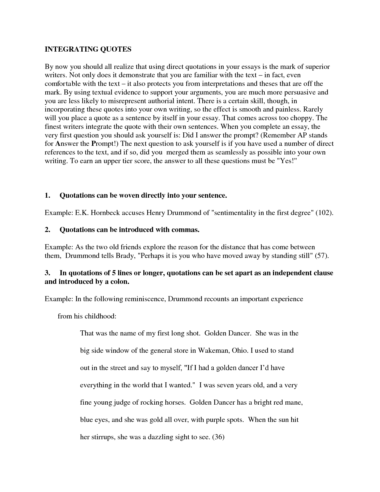 Long quotation in essay