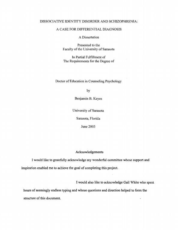 Dissertation acknowledgements examples