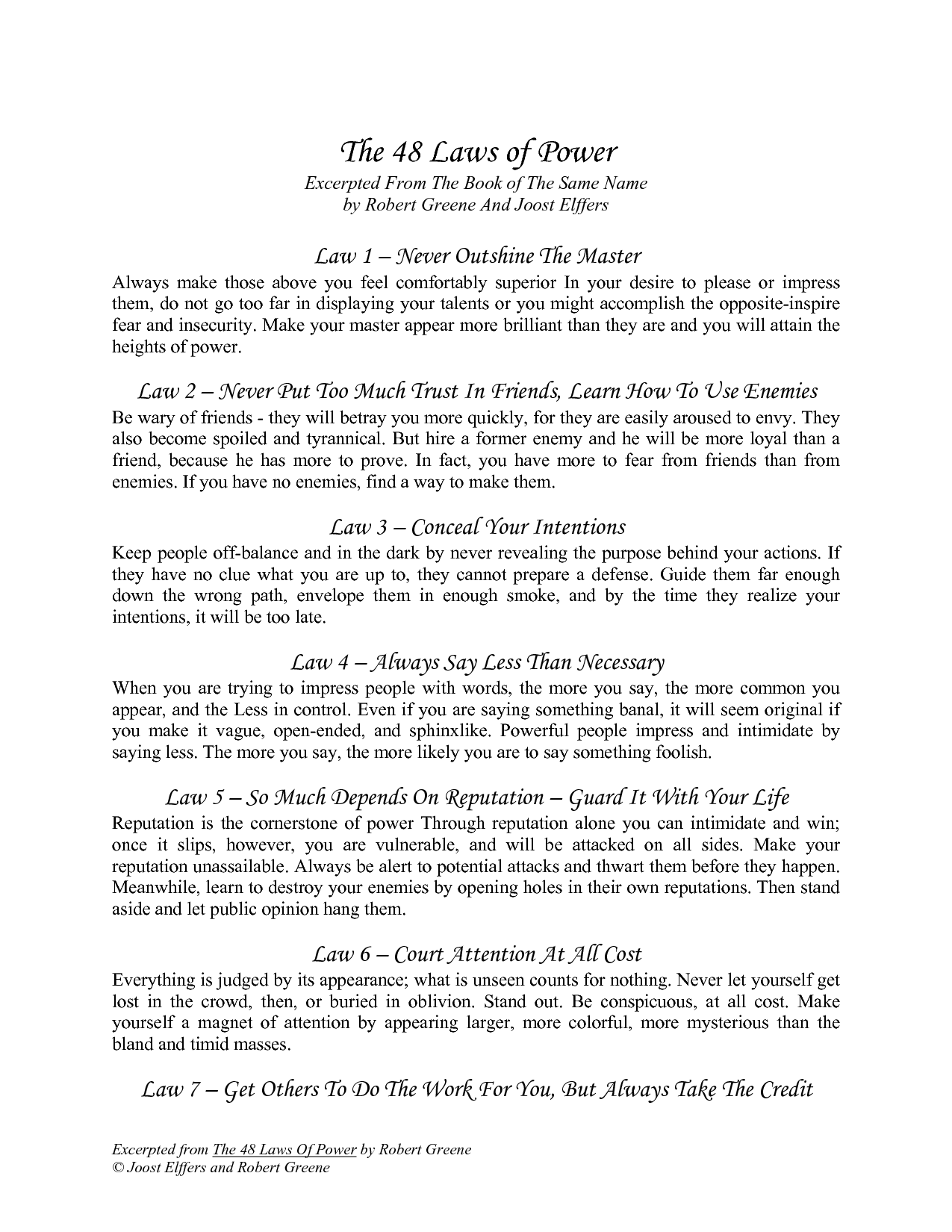 The 48 Laws of Power Summary Review & PDF