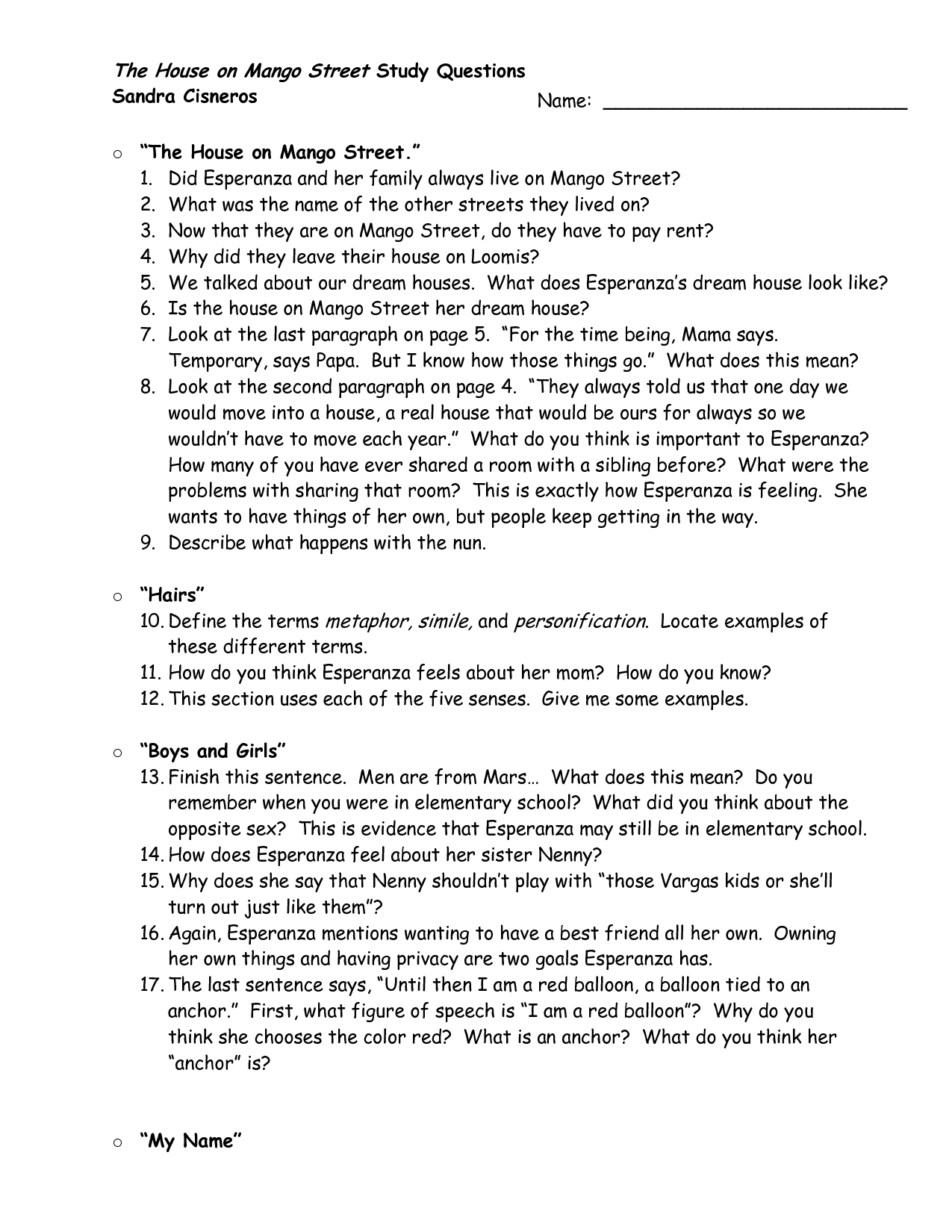 worksheet House On Mango Street Worksheets house on mango street discussion questions clasifiedad com from quotes quotesgramfile